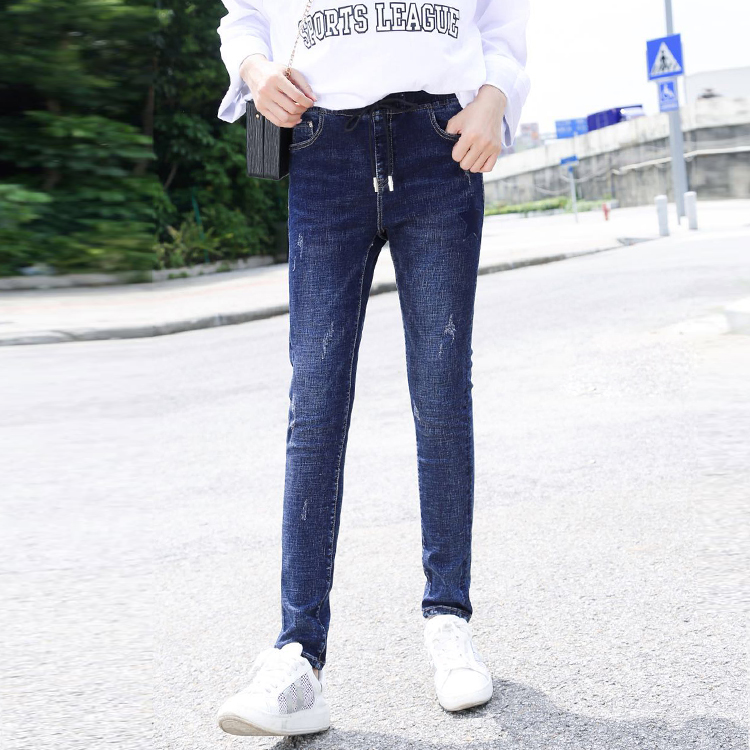 2018新款韩版显瘦紧身大码女装牛仔裤九分百搭高腰秋长裤小脚