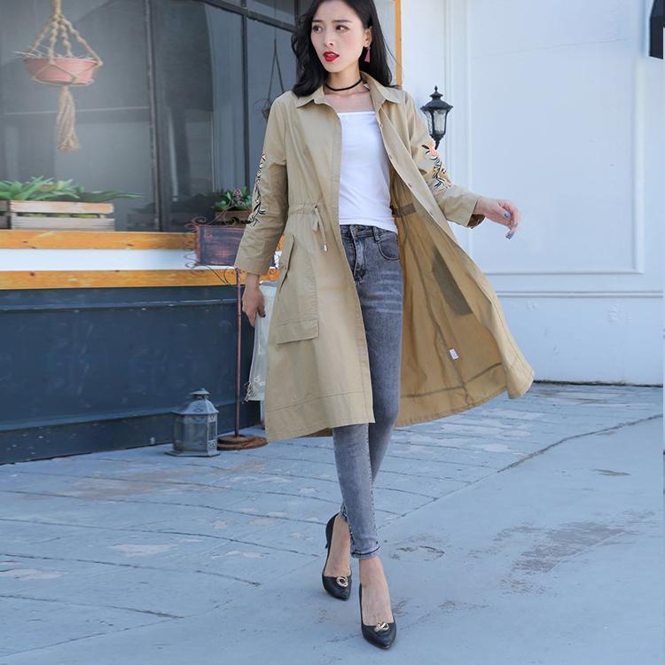胖衣朵大码女装2018中长款气质单层风衣女绣花薄外套韩版宽松衬衫