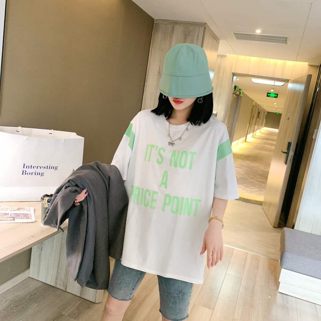 2020夏季大码女装胖mm200斤休闲宽松洋气字母时尚T恤159