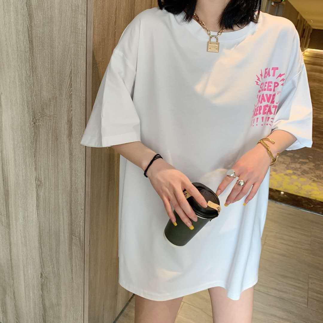 2020夏季大码女装胖mm200斤字母涂鸦后背宽松时尚T恤157-9