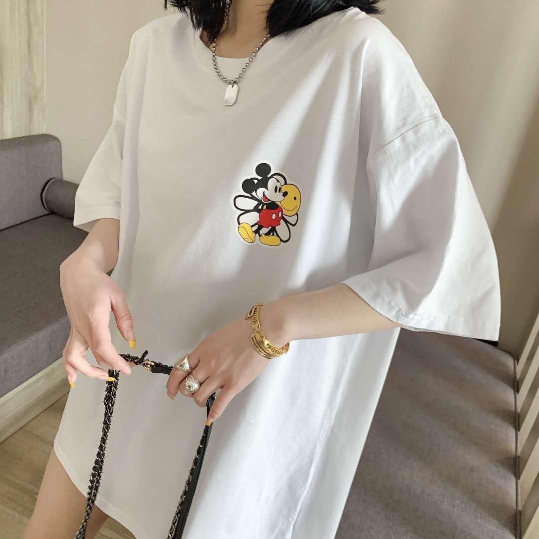 2020夏季大码女装胖mm新款韩版卡通米老鼠唐老鸭印花图案纯棉T恤157-8