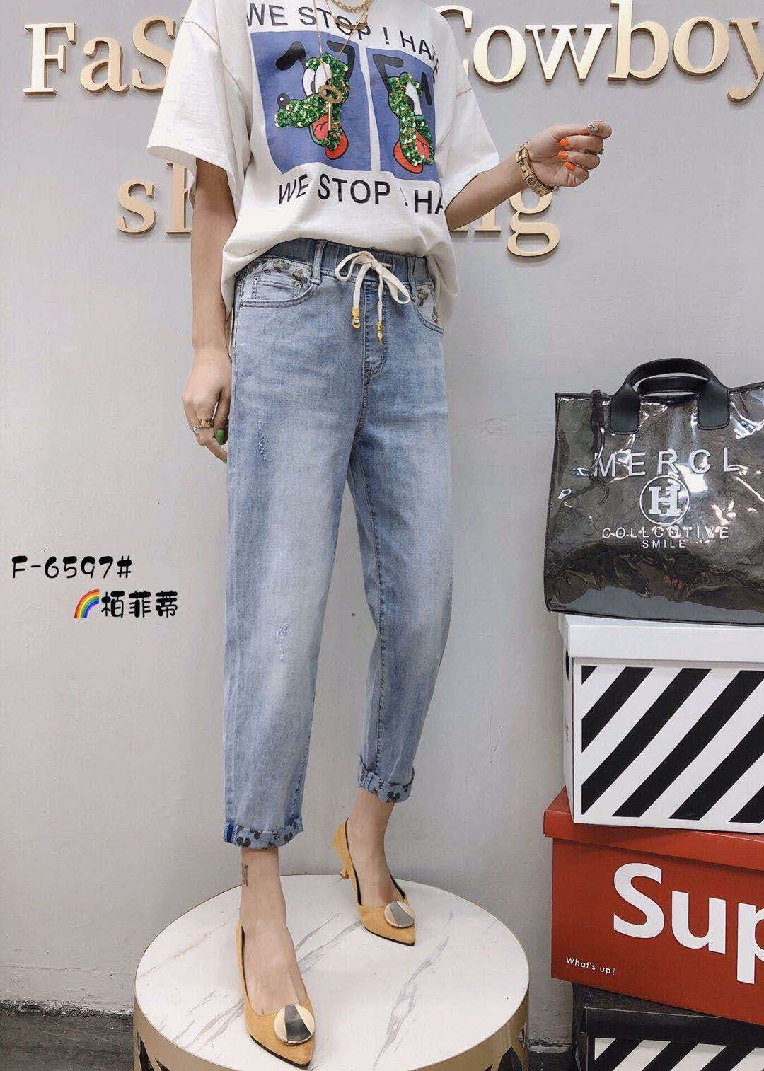 2020夏季大码女裤胖mm柏菲蒂新款韩版直筒松紧腰七分6597