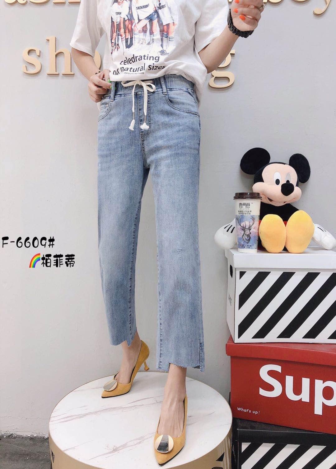 柏菲蒂6609款加肥加大牛仔女裤2020夏季宽松显瘦半松紧腰七八分裤