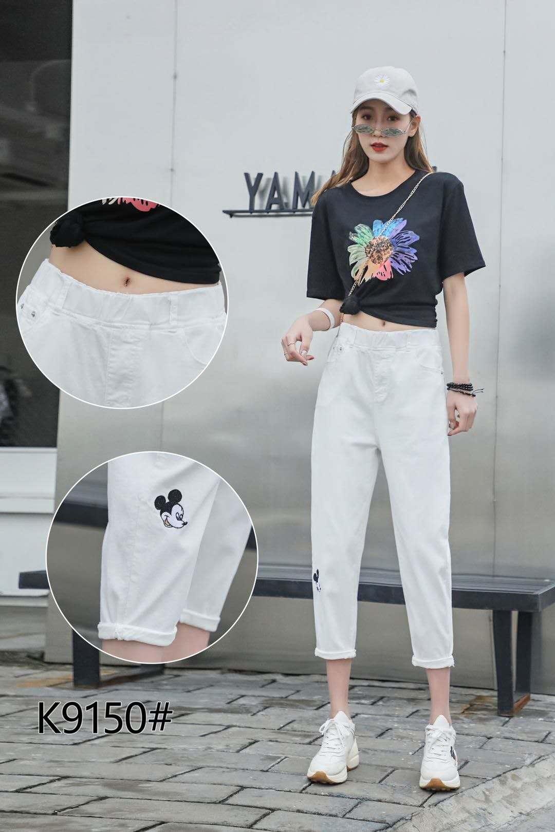 2020夏季新款大码女裤加肥加大宽松胖mm白色百搭款七八分牛仔裤