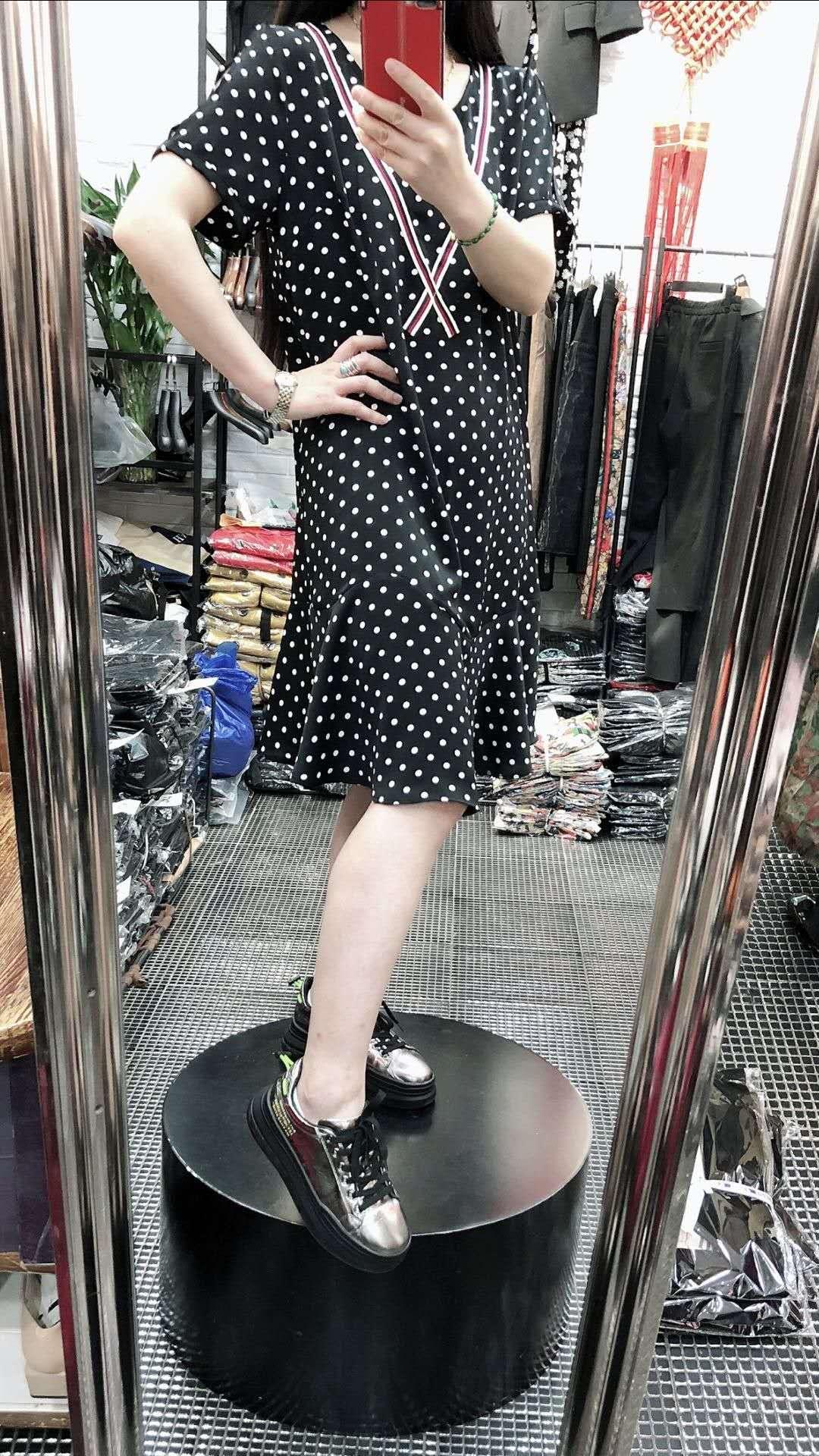 2020夏季新款加肥加大韩版宽松显瘦胖mm中长款波点花色连衣裙