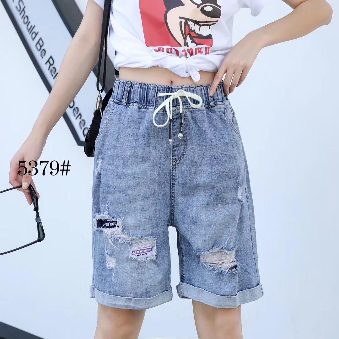 加肥加大胖mm牛仔短裤女2020夏季新款宽松高腰松紧显瘦卷边短裤薄5379